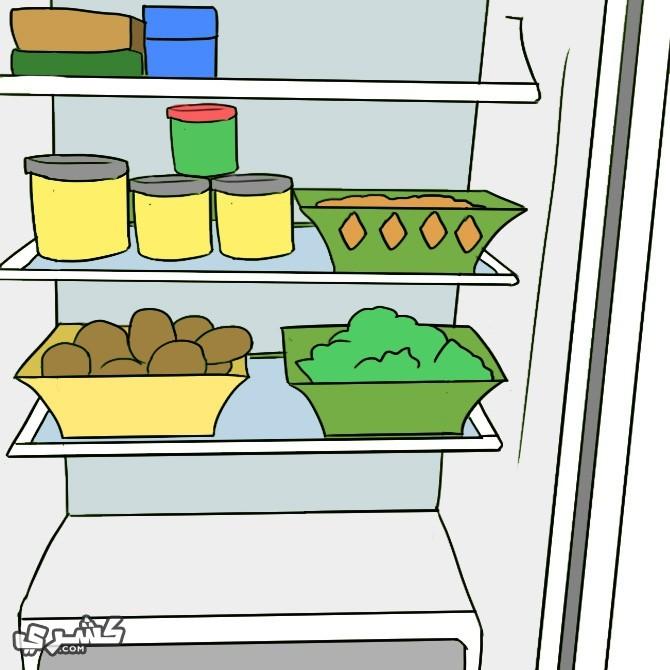 ضعي الأطعمه والمشروبات فى الثلاجه