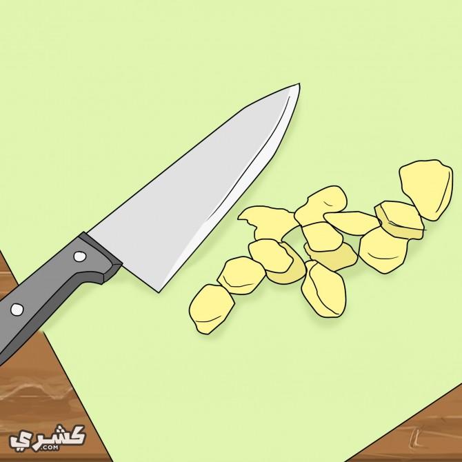 قطع الزنجبيل الطازج
