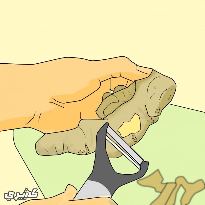 قشر قطعة الزنجبيل