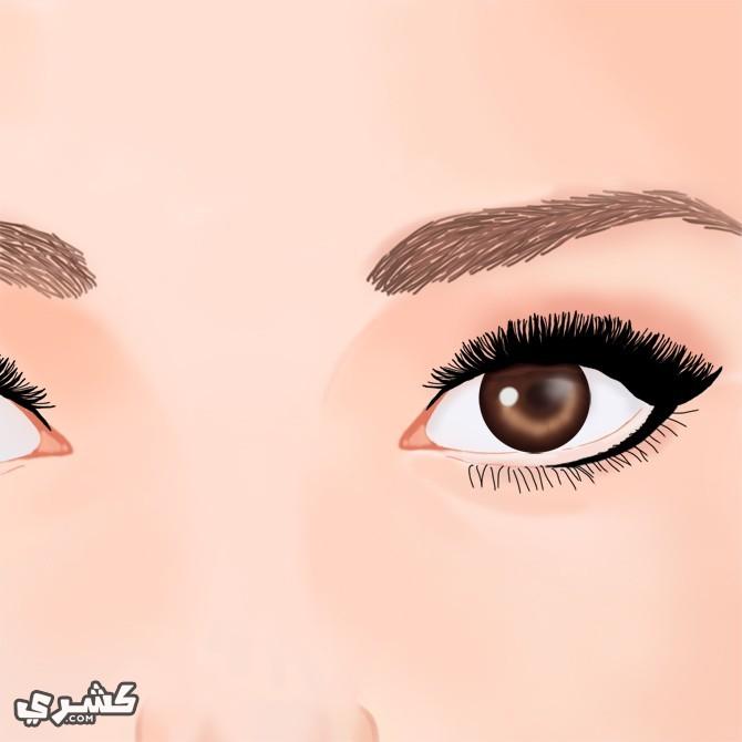 ارسمي عينيكى بعد وضع كريم اساس