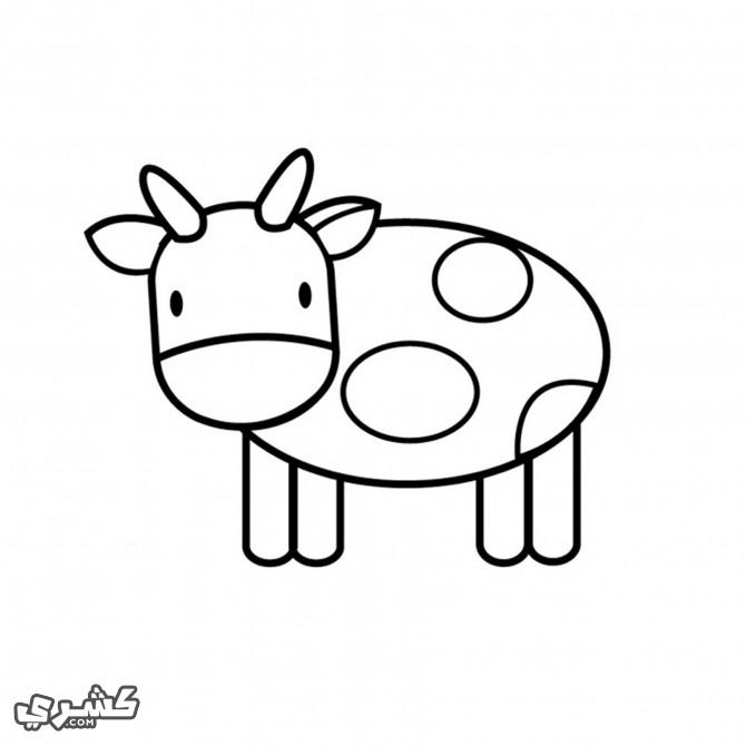 ارسم الاشكال على جسم البقرة